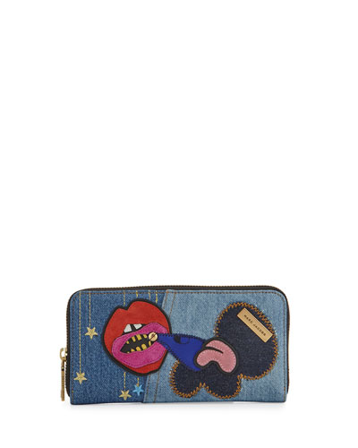 Denim Patches Continental Wallet