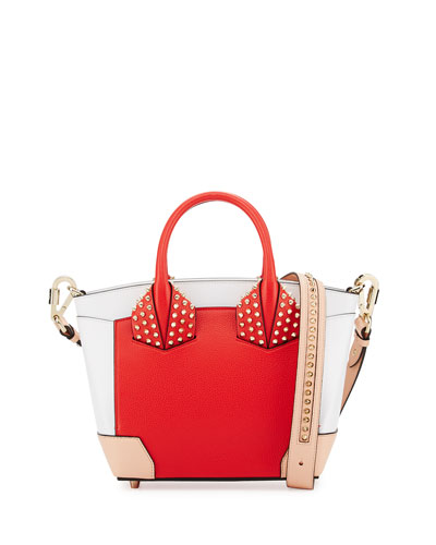 christian louboutin mens python sneakers Eloise Small Leather Spike Tote  Bag, Fraise