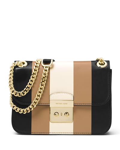 Sloan Editor Medium Striped Shoulder Bag, Black/Multi