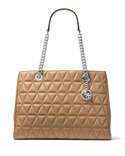Scarlett Large Quilted Tote Bag, Brown