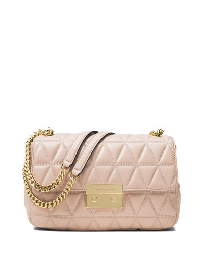 Sloan Quilted Leather Shoulder Bag, Pink