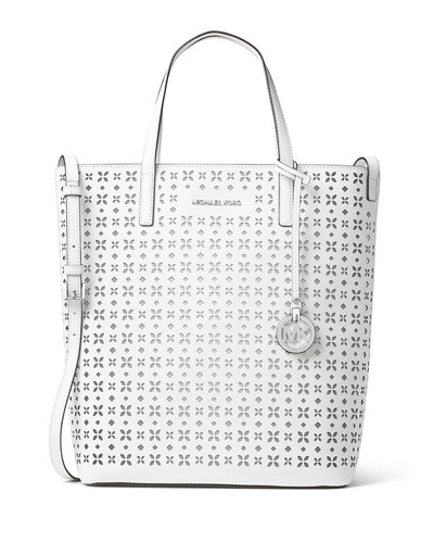 Hayley Large Top-Zip Leather Tote Bag, White