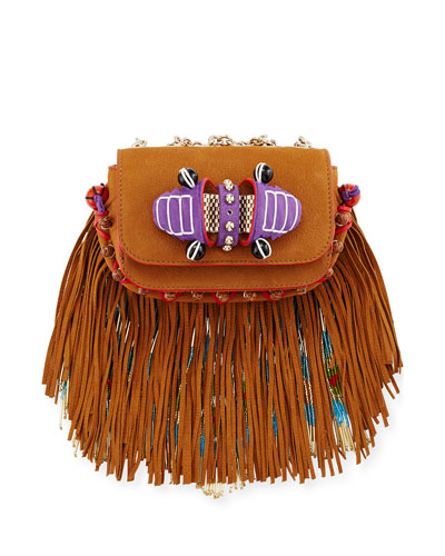 Sweet Charity Beaded Fringe Crossbody Bag, Brown