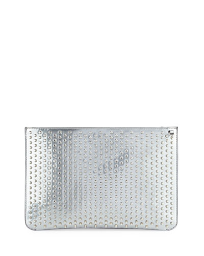 Loubiclutch Spiked Clutch Bag, Gray