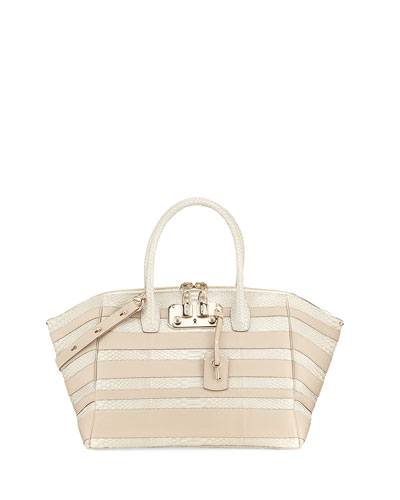 Brera 34 Python & Vitello Striped Satchel Bag, Limestone