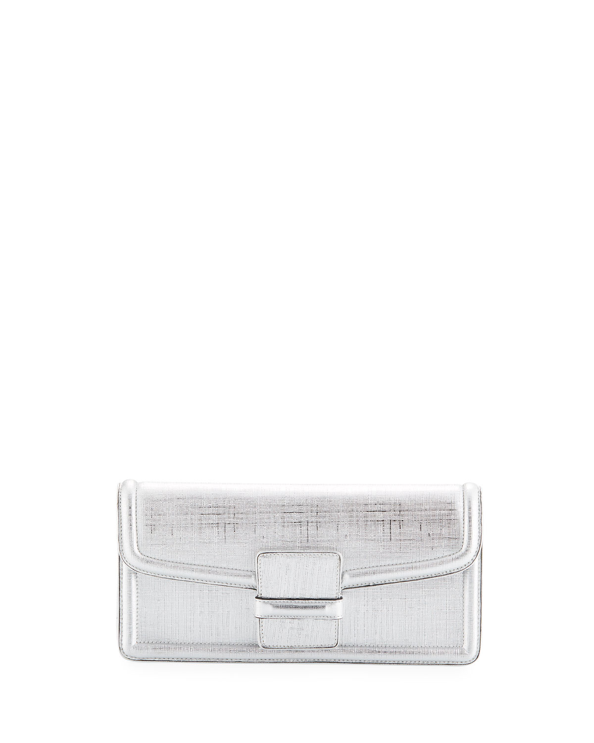 Metallic Leather Slip Clutch Bag