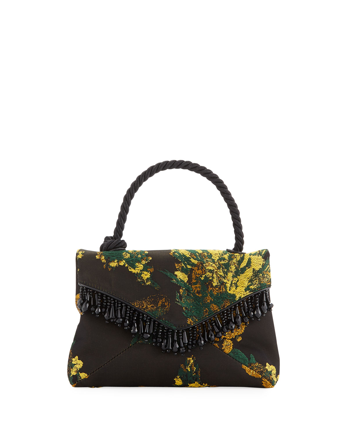 Floral Fabric Beaded Top-Handle Bag