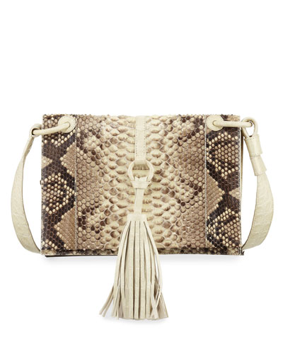 Python Small Tassel Crossbody Bag, Cream