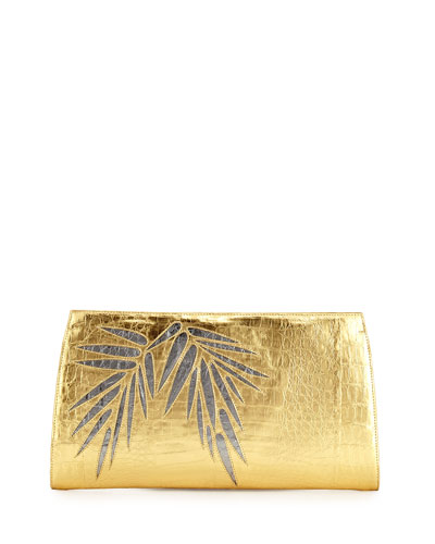 Bamboo Crocodile Slicer Clutch Bag
