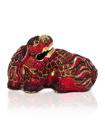 Ming Foo Dog Minaudiere, Crimson Red