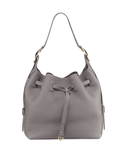 Carla Large Pebbled Bucket Bag, Gray