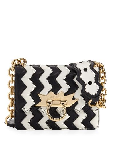 Small Sindy Two-Tone Zigzag Shoulder Bag, Multicolor