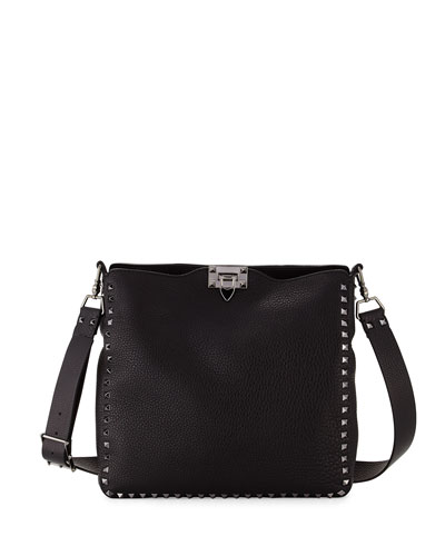 Rockstud Small Flip-Lock Hobo Bag, Black