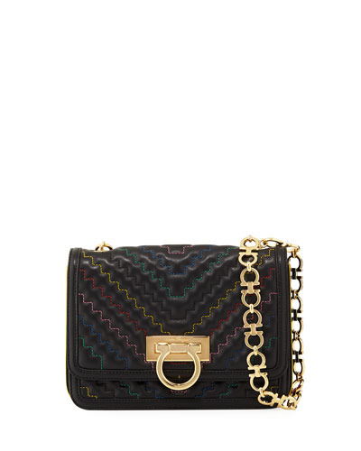 Silvy Medium Quilted Flap Bag, Black
