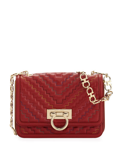Medium Quilted Flap Bag, Red