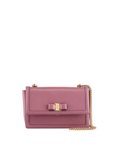 Ginny Medium Vara Flap Crossbody Bag, Pink