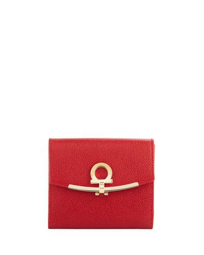 Gancio Clasp Saffiano French Wallet