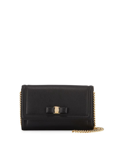Vara Mini Saffiano Crossbody Bag, Black