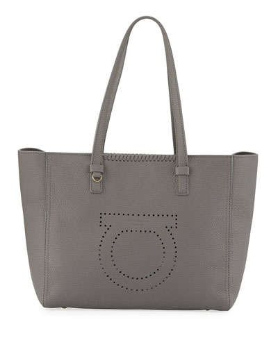 Marta Large Perforated Tote Bag, Gray