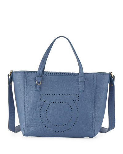 Small Perforated Tote Bag, Blue