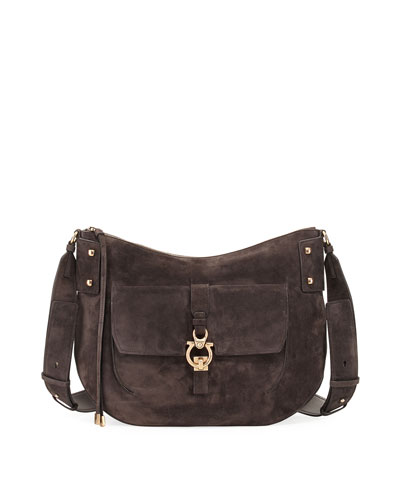 Fiona Large Suede Saddle Bag, Brown
