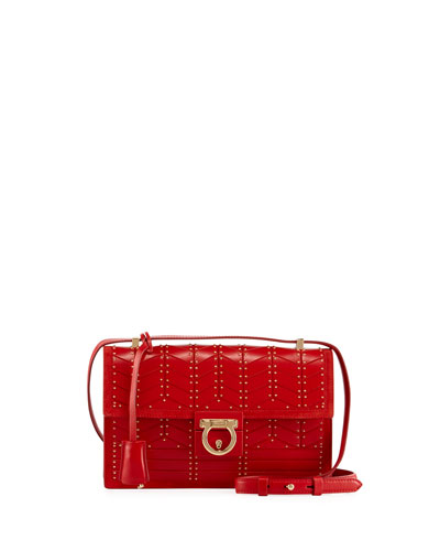 Aileen Medium Studded Leather Shoulder Bag, Red