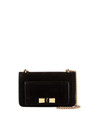 Ginerva Medium Flap Shoulder Bag, Black