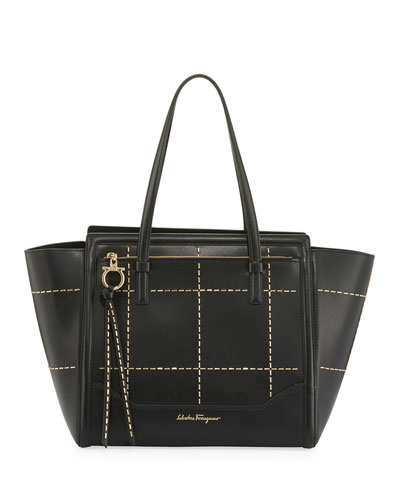 Medium Leather Tote Bag, Black