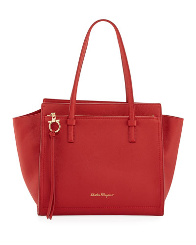 Amy Medium Leather Tote Bag, Red