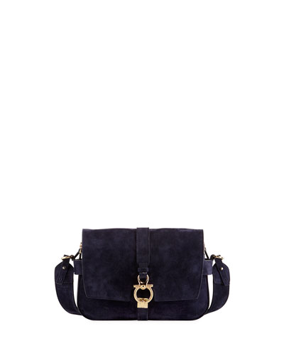 Fiore Small Suede Saddle Bag, Blue
