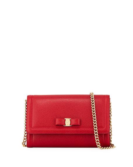 Salvatore Ferragamo Miss Vara Mini Crossbody Clutch Bag, Red