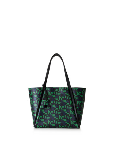 Alex Medium Geometric-Print Tote Bag, Green/Multi