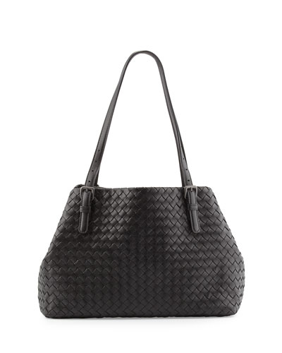 A-Shape Medium Woven Tote Bag, Brunito