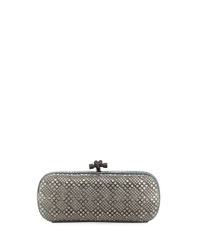 Elongated Snake-Embossed Clutch Bag