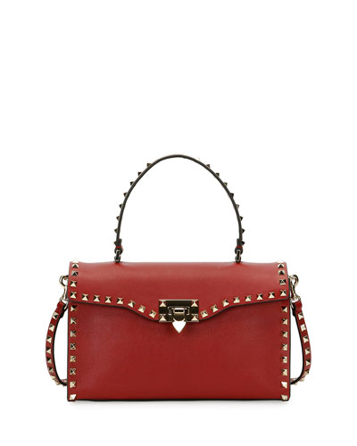 Rockstud Small Single-Handle Satchel Bag, Red