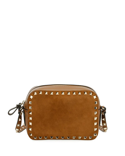 Valentino Garavani Valentino Rockstud Suede & Leather Camera Bag, Brown