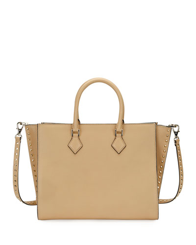 Rockstud Double-Handle Tote Bag, Beige