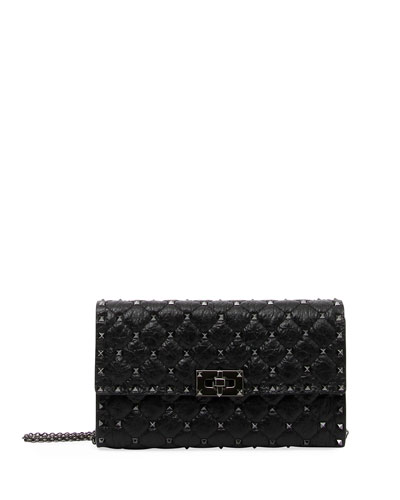 Rockstud Spike Chain Bag, Black