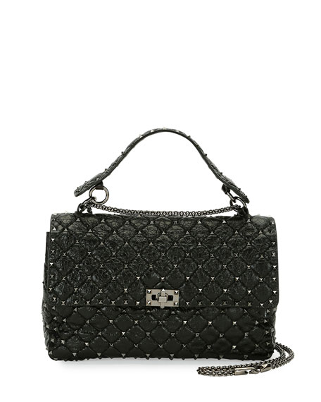 Valentino Garavani Rockstud Large Quilted Shoulder Bag, Black