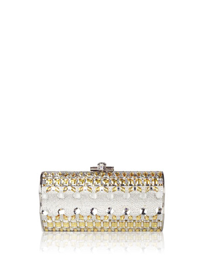 Violin-Side Crystal Beaded Minaudiere Clutch Bag