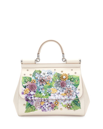 Sicily Medium Leather Floral Embellished Satchel Bag, White