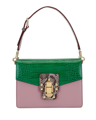 Lucia Colorblock Leather & Crocodile Gusset Bag with Python, Pink/Green