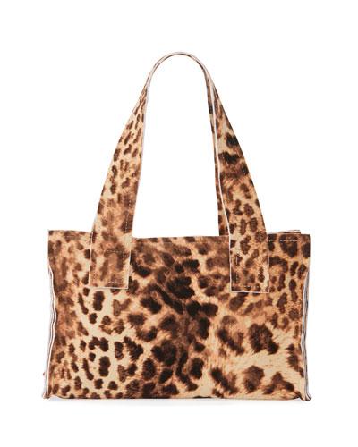 Caramel Leopard Print Handle Clutch Bag