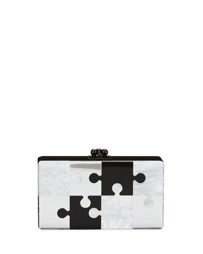Jean Pop Resin Clutch Bag, Black