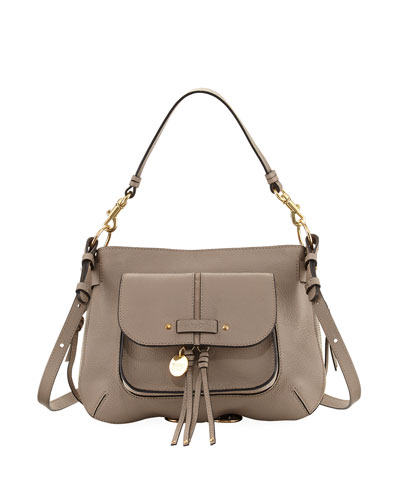 Leather Dual-Strap Shoulder Bag, Gray
