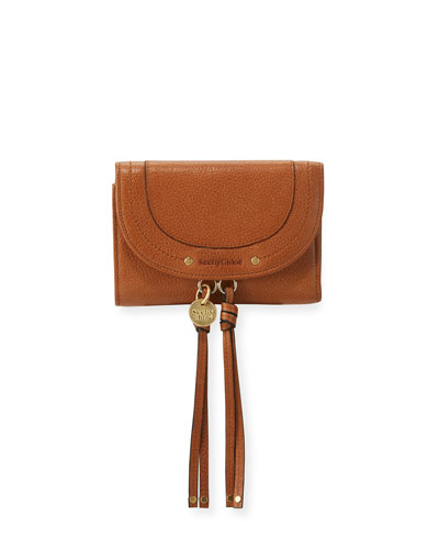 Tassel Flap Leather Wallet, Brown