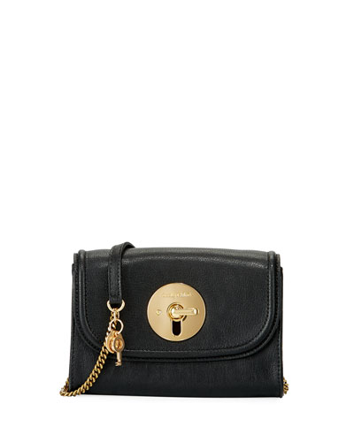 Lois Long Front Flap Mini Leather Shoulder Bag, Black