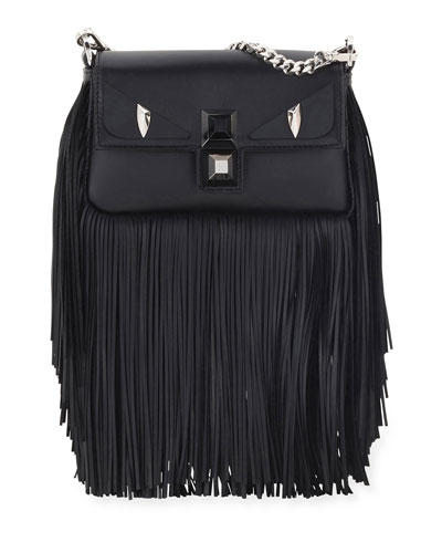 Baguette Monster Micro Fringe Shoulder Bag, Black