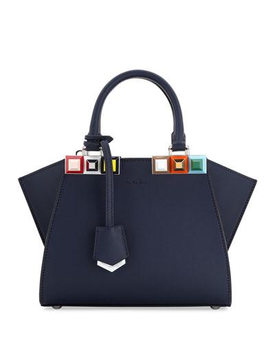 3Jours Petite Leather Satchel Bag, Blue