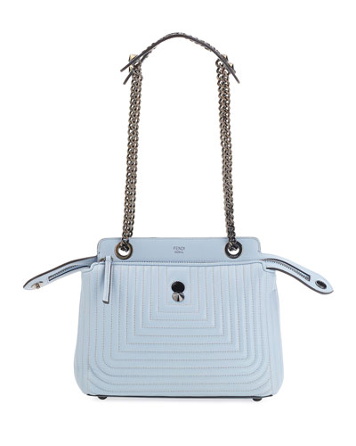 Dotcom Click Leather Shoulder Bag, Light Blue